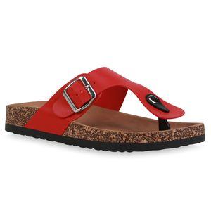 Giralin Damen Sandalen Zehentrenner Bequeme Profil-Sohle Schuhe 836692, Farbe: Rot, Größe: 39