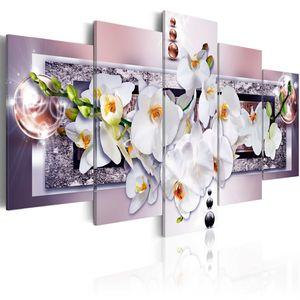 Modernes Wandbild b-A-0085-b-o (200x100 cm) - 5 Teilig Bilder Fotografie auf Vlies Leinwand Foto Bild Dekoration Wand Bilder Kunstdruck ABSTRAKT BLUMEN ORCHIDEE