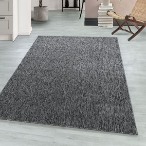 Schlingenteppich Kettelteppich Kurzflor Teppich Flachgewebe Meliert grau, Farbe:GRAU,140 cm x 200 cm