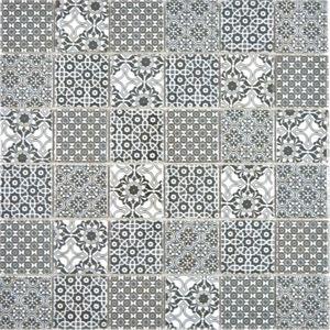 Keramik Mosaik schwarz weiss Mosaikfliese Patchwork Ornament Nachbildung Vintage Wand Fliesenspiegel Küche Bad MOS14-0333