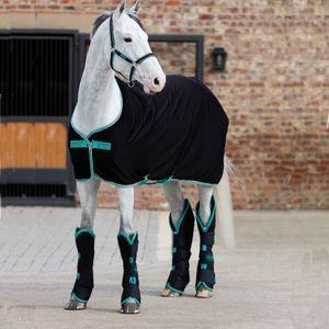 Horseware Amigo Jersey Cooler - Black/Teal & Dark Cherry, Größe:160