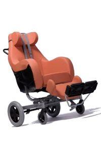 FabaCare Pflegerollstuhl mit Liegefunktion Coraille für Innen- und Außenbereich, Multifunktionsrollstuhl, Orange, Sitzbreite: 48 cm