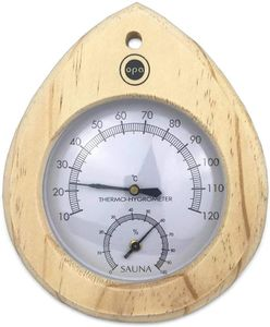 SudoreWell® Sauna Klimamesser Tropfen - Finnisches Sauna Thermometer + Hygrometer mit Holzrahmen hell by Opa