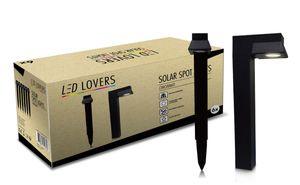 LED LOVERS 6 schwarze Solarleuchten mit Erdspieß und Sensor, Wegeleuchten solarbetrieben, wasserdichte Gartenleuchten mit Dämmerungssensor