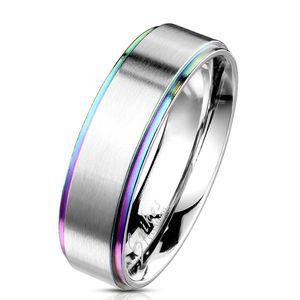 Regenbogen Ring Edelstahl / Pride Partnerring für Damen & Herren, Ringgrösse:70 (22.3 mm Ø)