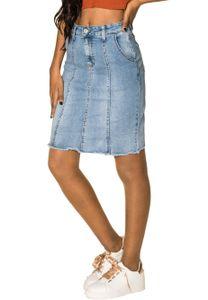 Damen Jeans Rock Stretch Fransen Optik Midi Skirt Knielang, Farben:Blau, Größe:36
