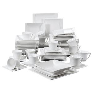 MALACASA, Serie Carina, 60 tlg. Cremeweiß Porzellan Geschirrset Kombiservice mit 12 Kaffeetassen, 12 Untertassen, 12 Dessertteller, 12 Suppenteller und 12 Flachteller