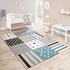 Kinderteppich Kinderzimmer Konturenschnitt Stern Muster Beige Creme Pastellfarben, Grösse:120x170 cm