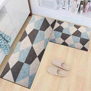 NEUFU Küchen-Fußmatte, Küchenteppich-Set, 2-teilig, rutschfest, Küchenmatten und Läufer, Küchenteppich, saugfähig, Bodenmatte, Fußmatte (40 x 60 + 40 x 120 cm)
