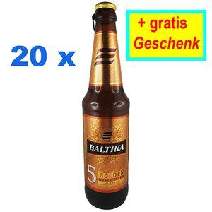 Baltika Nr. 5 Russisches Bier 5,3% vol. 20er Set + Gratis Geschenk Пиво Балтика