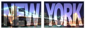 New York Poster Leinwandbild Auf Keilrahmen - New York, Big City Night, 2-Teilig (80 x 240 cm)