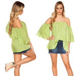 Sommershirt Off Shoulder Carmen Shirt Trompetenärmel, Farbe: Grün, Größe: S/M