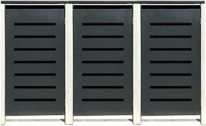 3 Tailor Mülltonnenboxen Basic für 120 Liter Tonne /Stanzung 6 /Anthrazit / Grau