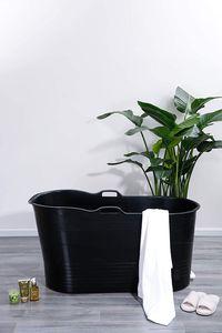 Schwänlein® Mobile Badewanne 123 x 51 x 63 cm XL, ideal für das kleine Badezimmer, stylisch und stimmungsvoll (Schwarz)