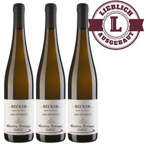 Weißwein Rheinhessen Riesling Weingut Becker Spätlese Barrique lieblich ( 3 x 0,75 l)