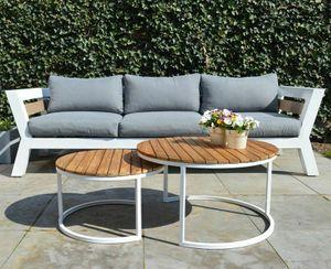 2er Set Garten Tische Lounge Terrassen Tische Van rund Aluminium Teak Beistelltische weiß