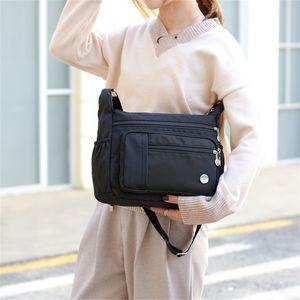 Wasserdicht Damen Taschen Umhängetaschen Handtasche Messenger Tasche Nylon Shopper -Schwarz