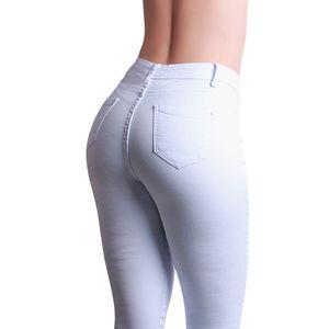 topschuhe24 2019 Damen Skinny Jeans High Waist Hose, Farbe:Weiß, Größe:40 EU