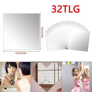 Miixia 32x Spiegelfliesen Wandspiegel Spiegelfolie Selbstklebend Aufkleber Folie Dekor