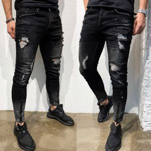 Herren Skinny Stretch Jeanshose Distressed Ripped Freyed Slim Fit Jeanshose Größe:L,Farbe:Schwarz