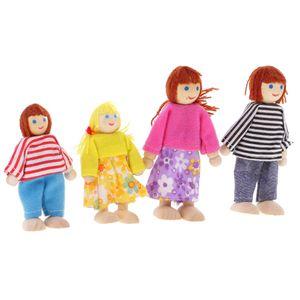 4 Personen Familie Puppen Biegepuppen aus Holz & Stoff für 1/12 Puppenhaus Kinder Spielzeug Geschenk