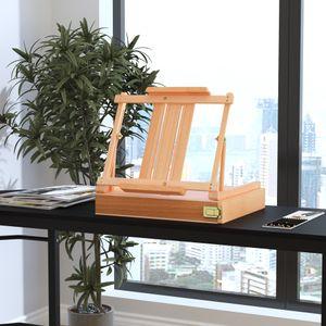 Vinsetto Staffelei Keilrahmen Atelierstaffelei Winkelverstellbar Faltbar mit Schublade Buchenholz Natur 42 x 36 x 12,5 cm