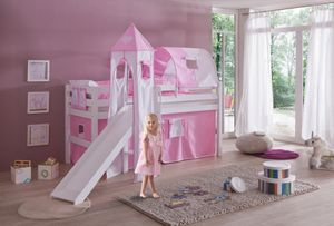 Relita - Spielbett Eliyas mit Rutsche und Textilset Vorhang, 1-er Tunnel, Turm und Tasche