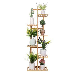 Pflanzenregal Holz, Blumenständer mehrstöckig 7 Ablagen, Pflanzentreppe Blumenregal für Balkon Restaurant Café Deko, 40x20x122cm