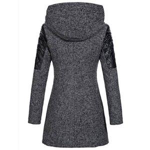 Frauen Warm Slim Jacke Dick Parka Mantel Winter Outwear Hooded Zipper Coat Größe:L,Farbe:Grau