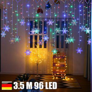 Miixia LED Schneeflocke Lichterkette Lichtvorhang Fenster Weihnachten Beleuchtung Nachbildung 3.5 Meter 96 LED RGB Bunt