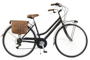 Via Veneto by Canellini Fahrrad Citybike Frau Stahl mit Seitentaschen - Schwarz 46