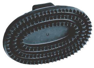 Gummistriegel oval Hartgummi Kerbl schwarz