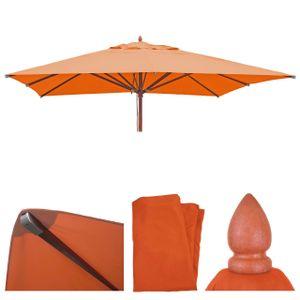 Bezug für Gastronomie Holz-Sonnenschirm HWC-C57, Sonnenschirmbezug Ersatzbezug, eckig 4x4m Polyester 3kg  terracotta
