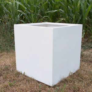 Pflanzkübel, Blumenkübel Fiberglas quadratisch 60x60x60cm perlmutt weiß.