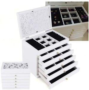 Holz Schmuckbox Schmuckkasten  Schmuckkoffer   Schmuckschatulle Kosmetikschrank  6 Schichten Schmuckorganisatoren Schmuckaufbewahrung    Geschenk für deine Mutter / Freundin / Schwester  (weiß)