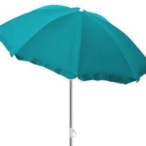 Sonnenschirm rund Ø2m petrol Polyester knickbar UV Schutz