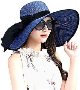 Damen Stroh gewebte Sommersonnenhut Strohhut UV-Schutz Strandhut Sommerhut(Blau)