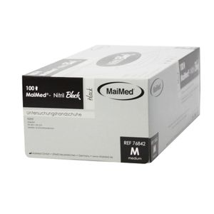 Maimed Black Nitril Handschuhe puderfrei schwarz 100 Stück Gr. M