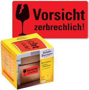 """AVERY Zweckform Etikettenrolle """"Vorsicht zerbrechlich!"""" neonrot 200 Etiketten"""