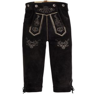 Bongossi-Trade Lederhose Gr.60 Kniebundhose mit Trägern aus Rindveloursleder Dunkelbraun