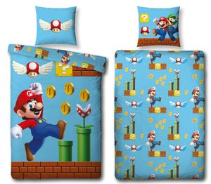 Super Mario Bettwäsche Set GAMES 135x200 80x80cm 100% Baumwolle Linon
