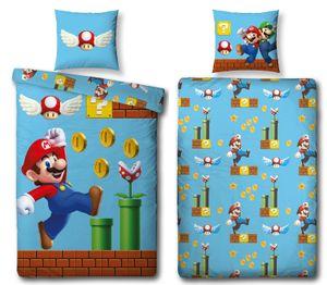 Super Mario Bettwäsche Set GAMES 135x200 80x80cm 100% Baumwolle Biber