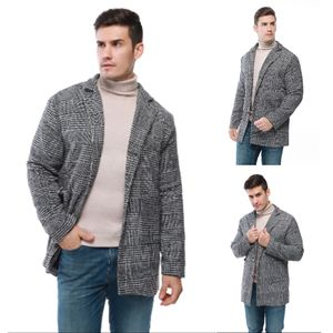 Männer lässig Wintermode Hounstooth Gentlemen Long Coat Jacke Outwear Größe:L,Farbe:Grau