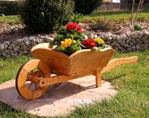 Große Schubkarre, Pflanzschubkarre aus Holz, Blumenkasten, Blumenkübel, Pflanzkasten, Gartendekoration