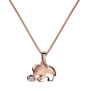 MATERIA Elefanten Schmuck Anhänger für Kette Damen Mädchen aus 925 Silber Rose Gold vergoldet KA-379-Rose, Auswahl :50 cm