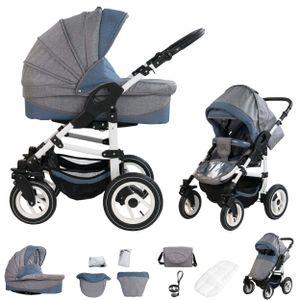 Bebebi Florenz | Hartgummireifen in Weiß | 2 in 1 Kombi Kinderwagen | Hartgummireifen | Farbe: Da Vinci Blue White