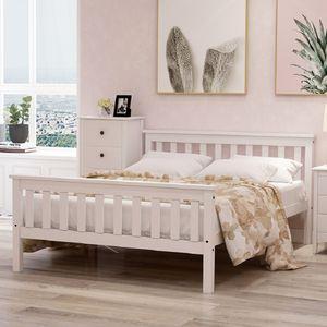 Merax Doppelbett 140 x 200cm Kiefer Bettgestell Massivholzbett mit Kopfteil und Lattenrost, Hochwertiger klassische betten Holzbett für Schlafzimmer ,Weiß
