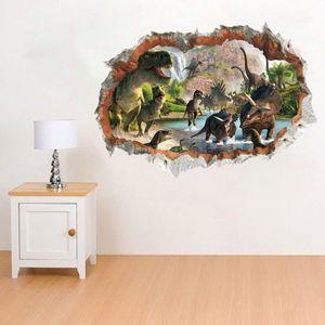 Dinosaurier im Fluss Wandaufkleber 3D Wandaufkleber 3D Spezialeffekt Ansicht 3D Außen Rissige Wanddekoration Abnehmbare DIY Vinyl Wand Home Decals für Wohnzimmer Schlafzimmer