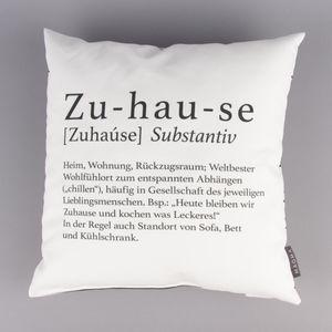 Magma Deko Kissen Wordart Zuhause weiß schwarz 40x40cm