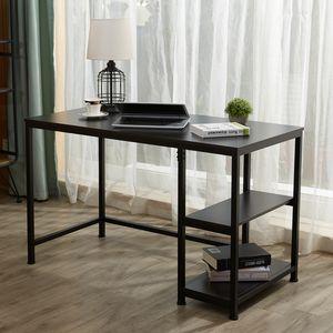 Crenex Schwarz Computertisch Schreibtisch Arbeitstisch PC-Tisch Bürotisch mit 2 Regalebenen